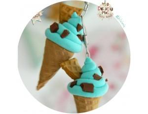 """Cercei handmade inghetata """"Mint ice-cream & chocolate chips"""""""