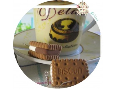 Cercei handmade - Biscuiti umpluti cu crema de vanilie si ciocolata