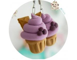 Cercei handmade - Cupcake de afine