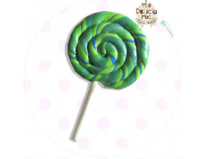 Brosa handmade -  Acadea spiralata in nuante de verde si albastru
