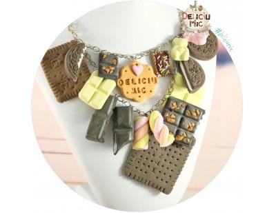 Colier statement - Ciocolata, Jeleuiri, Marshmallows & Biscuiti din pasta polimerica