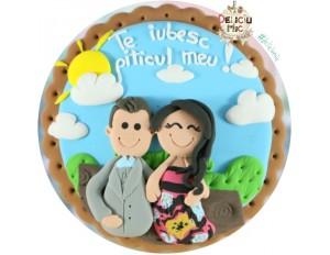 Magnet rotund pentru indragostiti personalizat cu imaginea cuplului si text