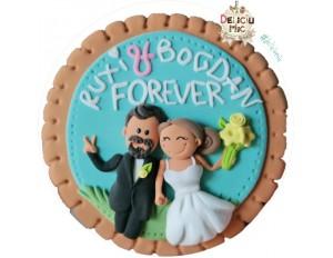 Magnet aniversare casatorie personalizat cu mire si mireasa