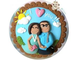 Magnet rotund pentru cupluri, decorat cu soare si norisori