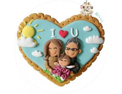 Magnet personalizat pentru familii, decorat cu imaginea cuplului si a fetitei