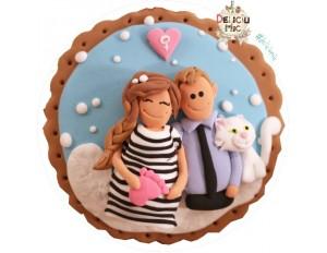 Magnet personalizat pentru cupluri, decorat cu imaginea acestora si pisicuta lor