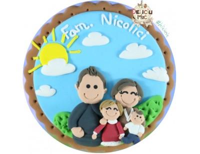 """Magnet """"Mama, Tata si copii"""", personalizat cu numele familiei"""