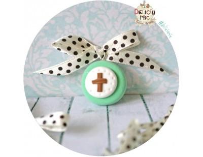 Cruciulite de botez vernil menta cu fundita ivoar cu buline maro