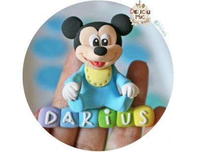 Marturie magnet Mickey Mouse - personalizat cu numele bebelusului
