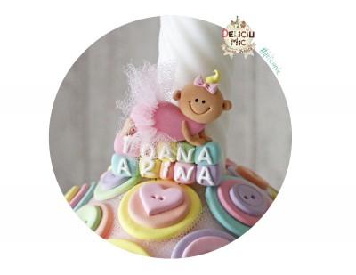 """Marturie de botez magnet """"Smiley Baby"""" fetita cu tutu roz personalizata cu numele bebelusului"""