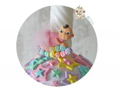 "Marturie de botez magnet  ""Cute Baby"" - fetita cu tutu roz personalizata cu numele bebelusului"