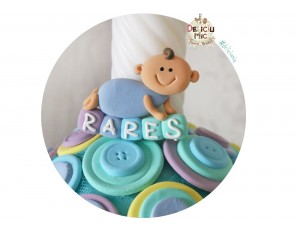 """Marturie de botez """"Smiley Baby"""" personalizata cu numele bebelusului in nuante de albastru"""