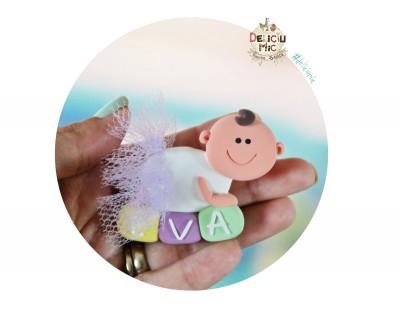 "Marturie de botez magnet ""Smiley Baby"" fetita cu tutu lila"