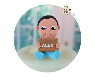 """Marturie de botez """"Cute Baby"""" - beietel cu biscuit personalizat cu numele bebelusului"""