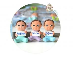 "Marturie botez ""Cute Baby"" - baietei cu placuta personalizata cu numele"