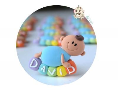 """Marturie botez """"Smiley Baby"""" de-a buselea pe cuburi personalizate cu numele bebelusului"""