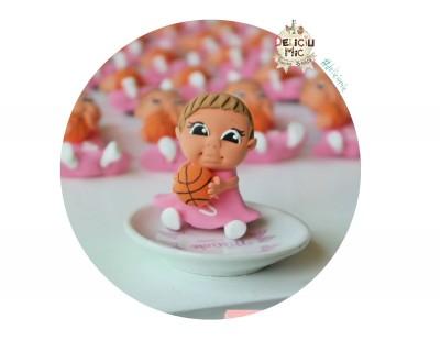 """Marturie botez """"Cute Baby"""" -  fetita cu minge de baschet si initiala numelui"""
