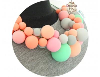 """Colier statement """"Bubble-Gum"""" in nuante roz, portocaliu si gri"""