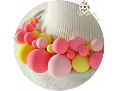 "Colier statement ""Bubble-Gum"" in nuante de roz si galben"