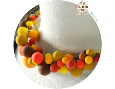 """Colier statement """"Happy Autumn"""" Bilute colorate in nuante de galben, portocaliu, mustar si maro"""