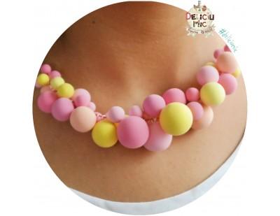 """Colier statement """"Bubble-Gum"""" in nuante de roz si galben pal"""
