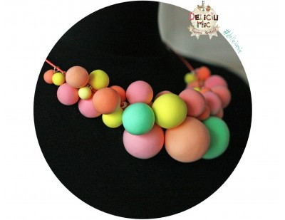 "Colier statement ""Bubble-Gum"" in nuante de roz, galben si turcoaz"