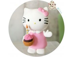 Figurina de tort Hello Kitty cu cupacke si lumanare