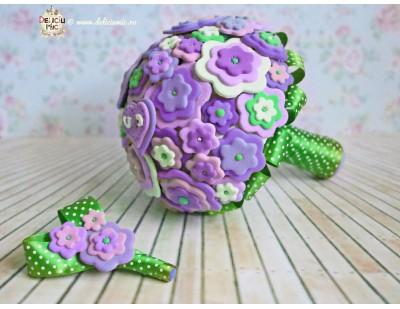 Buchet de Mireasa handmade din pasta polimerica - personalizat - in nuante de mov, lila, verde smarald