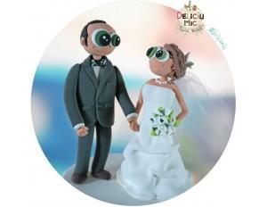 Figurine de tort pentru nunta - Mire si Mireasa cartoonish