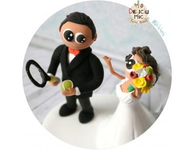 Figurine de tort pentru nunta - Mire pasionat de tenis