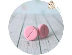 Cercei cu surub Pastila tableta roz