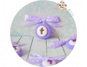 Cruciulite de botez lila cu fundita lila cu buline albe