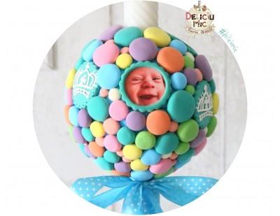 Lumanari botez cu buline multicolore + 4 rame personalizate cu pozele bebelusului