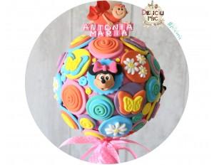 Lumanari botez Minnie Mouse cu fluturi multicolori