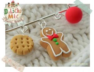 Brosa handmade din 3 elemente - turta dulce, biscuit si globulet rosu