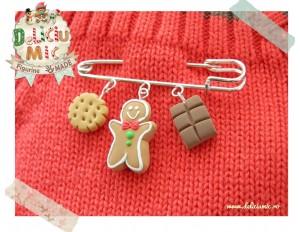 Brosa handmade din 3 elemente - turta dulce, biscuit si ciocolata