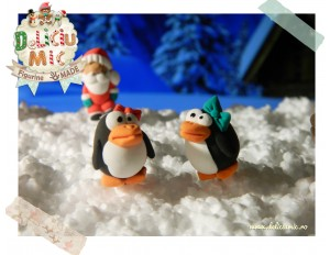 Pinguini cu fundita - Cercei handmade