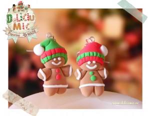 Gingerbread Man cu caculite colorate - Cercei handmade