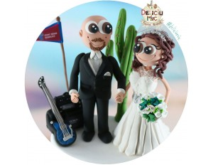 Figurine Tort Nunta - Mireasa si Mirele muzician chitarist