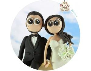 Figurine de tort pt Nunta, Mire si Mireasa asezati pe Tort