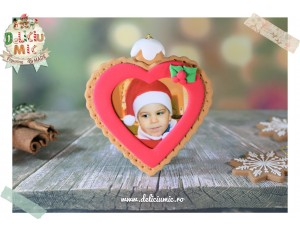 "Decoratiune Rama Foto Inimioara rosie ""Happy Christmas"""