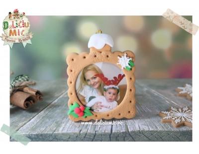 "Decoratiune Rama Foto Biscuit ""Happy Holidays"""