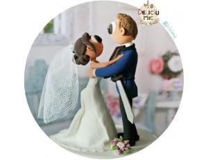 Figurine Tort Nunta de poveste, Mirele Print danseaza cu Printesa lui, Mireasa