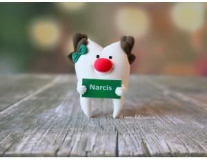 Brosa handmade Dintisor Rudolf cu Pancarta Personalizata