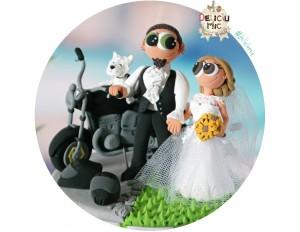 Figurine de tort Mire & Mireasa Motociclisti & Motocicleta, casti de motor & catel Westie