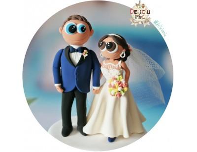 Figurine Tort Nunta - Mireasa cu pantofi albastri
