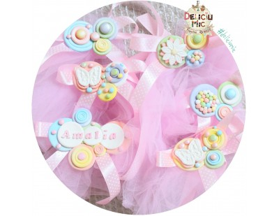 Aranjament pentru Cristelnita si Cadita - tiul roz si perle sidefate