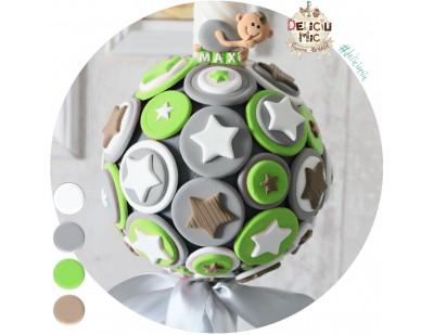 Lumanare non-florala cu cercuri si stelute verzi, gri si albe