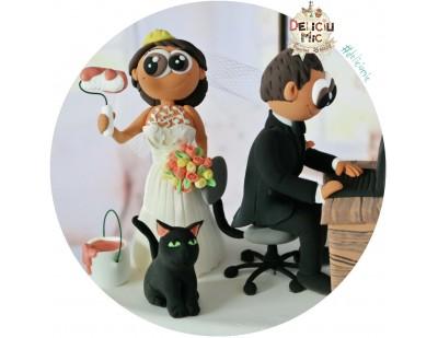 Figurine Tort Nunta - Mireasa Inginer si Mirele IT-st & pisica