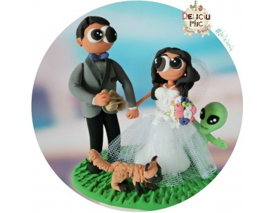 Figurine Tort Nunta S.F. - Mire, Mireasa, Extraterestru & Pisica
